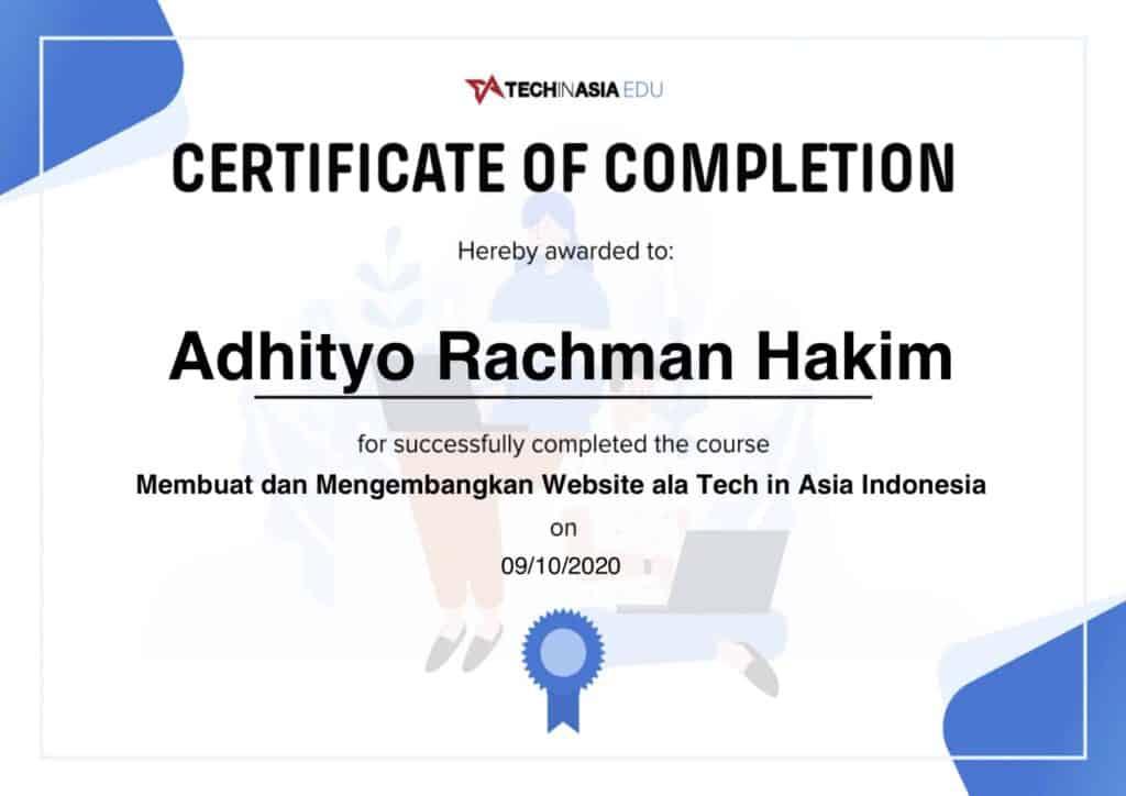 Adhityo Rachman Hakim Sertifikat Tech in Asia
